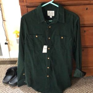 Corduroy Lucky Brand button down forest green